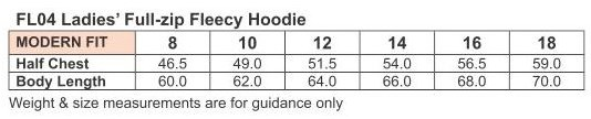Uniforms  Size  Chart  Hoodies  Ladies